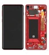 Display (LCD + Touch) + Frame für G973F Samsung Galaxy S10 - cardinal red