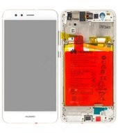 Display (LCD + Touch) + Frame + Battery für Huawei P10 Lite - pearl white