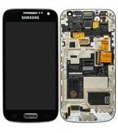Display (LCD + Touch) + Frame für I9195i Samsung S4 mini - deep black