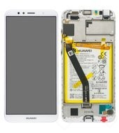 Display (LCD + Touch) + Frame + Battery für ATU-LX3, L11, L21, L22 Huawei Y6 (2018) - white