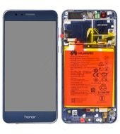 Display (LCD + Touch) + Frame + Battery für Huawei Honor 8 DUAL - blue