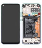 Display (LCD + Touch) + Frame + Battery für Huawei P40 Lite E - aurora blue