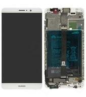 Display (LCD + Touch) + Frame + Akku für Huawei Mate 9 - silver/grey